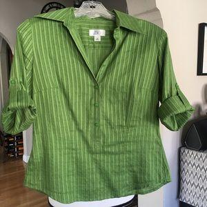 Ann Taylor Loft Green Button Down Blouse (XS)